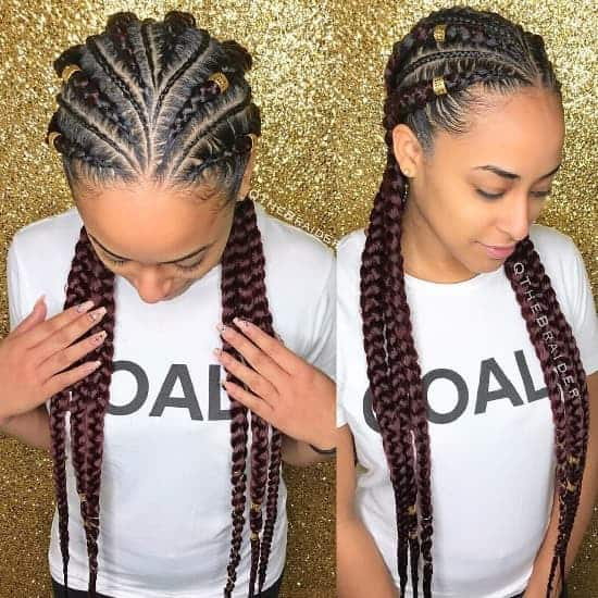 Feed in Multi sized Braids0Ahairstyle