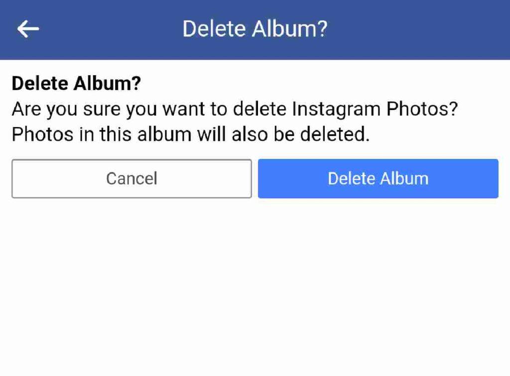 How to delete facebook album